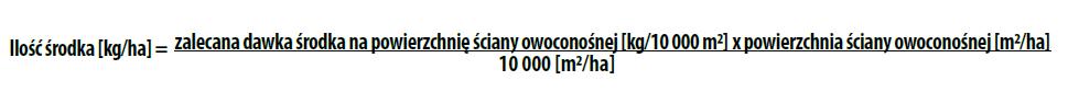 Embrelia 140 SC - Obliczenie ilości środka potrzebnego na 1 ha sadu (kg/ha)